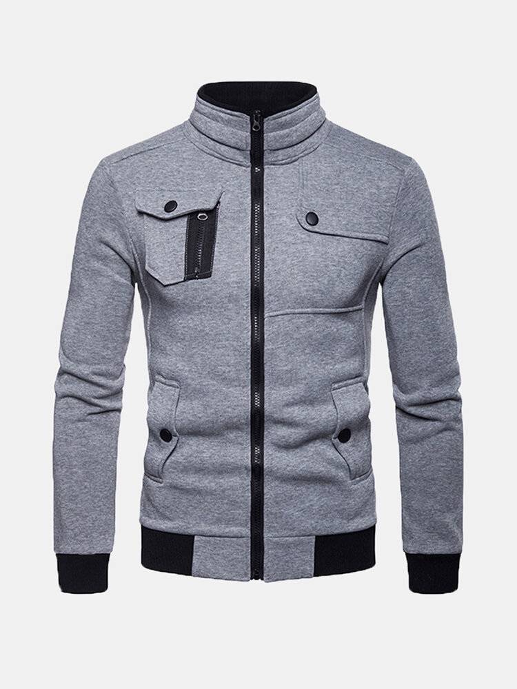 Best Mens Multifunction Pockets Zipper Stitching Top Long Sleeve Solid Color Coat You Can Buy