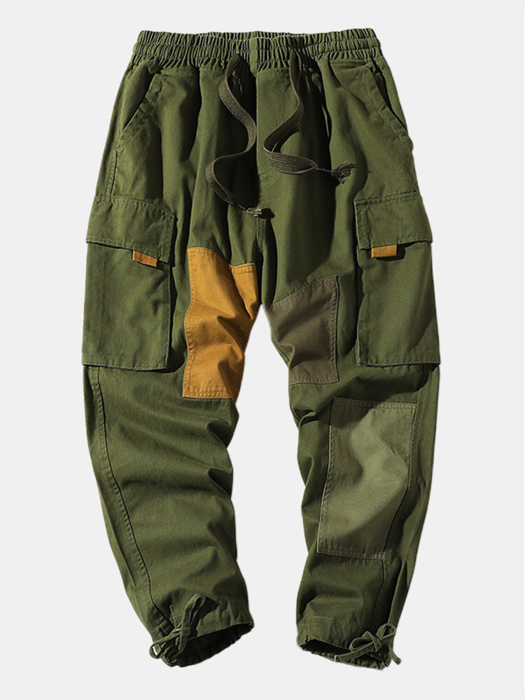 Best Mens Cotton Contrast Color Patchwork Drawstring Cargo Pants You Can Buy