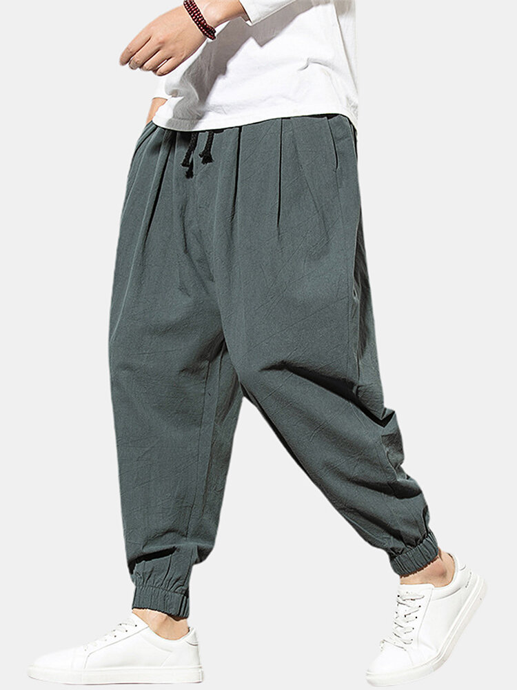 Best Mens Linen Ethnic Solid Color Ankle Banded Pants You Can Buy