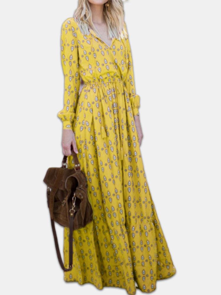 Best Bohemian Ethnic Print Long Sleeve Plus Size Maxi Dress You Can Buy