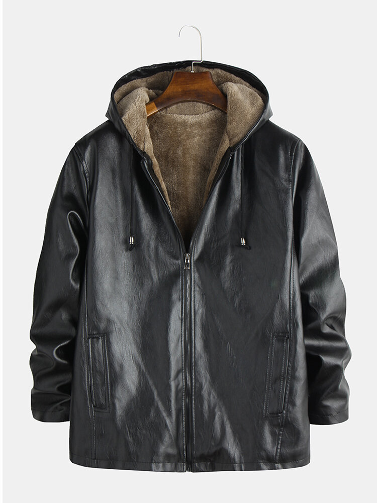 Best Mens Motorcycle Leather Jackets Fleece Lined Warm Thicken Hooded Coats You Can Buy