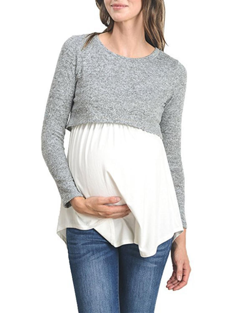 Best Multi-functional Maternity Cotton Patchwork Long Sleeves Casual Nursing Tops You Can Buy