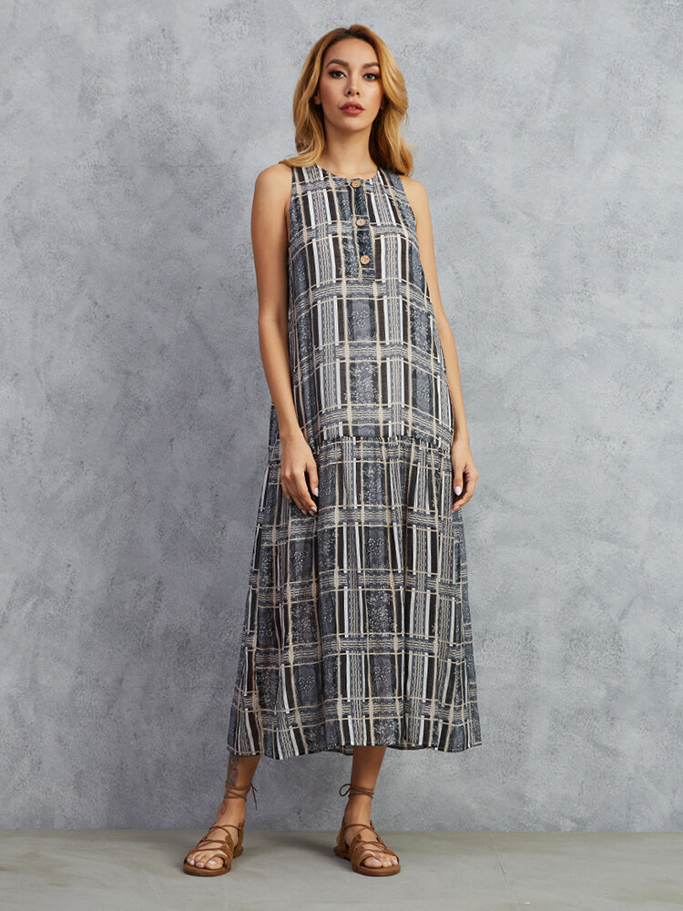 Best Sleeveless Print Button O-neck Maxi Dress For Women You Can Buy