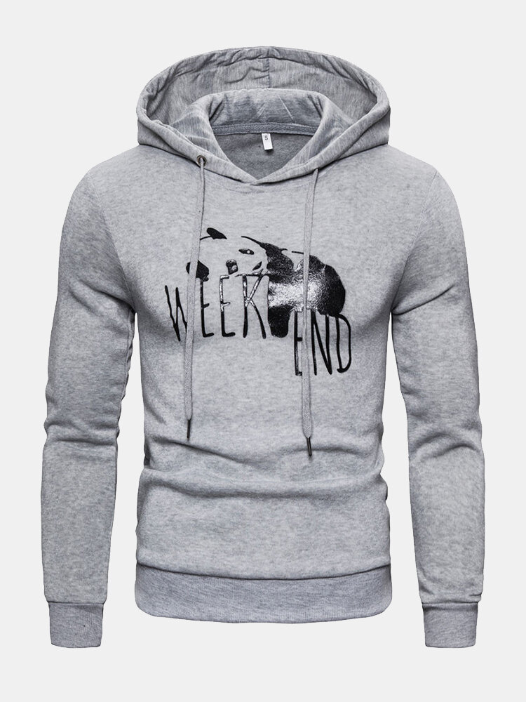 Best Mens Funny Cartoon Panda Weekend Graphic Drawstring Hoodies You Can Buy