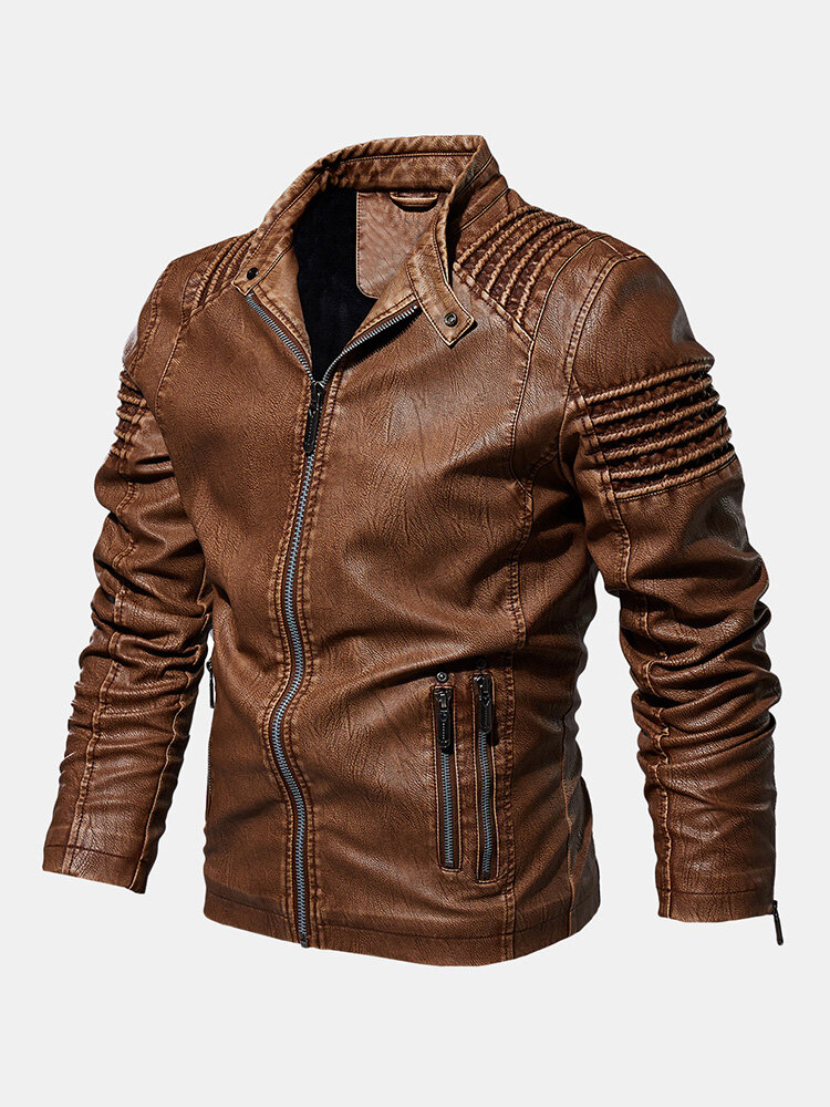 Best Mens PU Leather Warm Fleece Lined Long Sleeve Slim Fit Fashion Coats Jackets You Can Buy