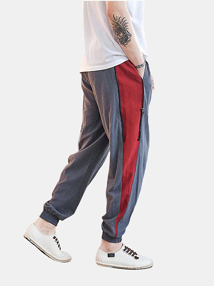 Best Mens Plain Linen Patchwork Zipper Elastic Waist Straight Harem Pants You Can Buy