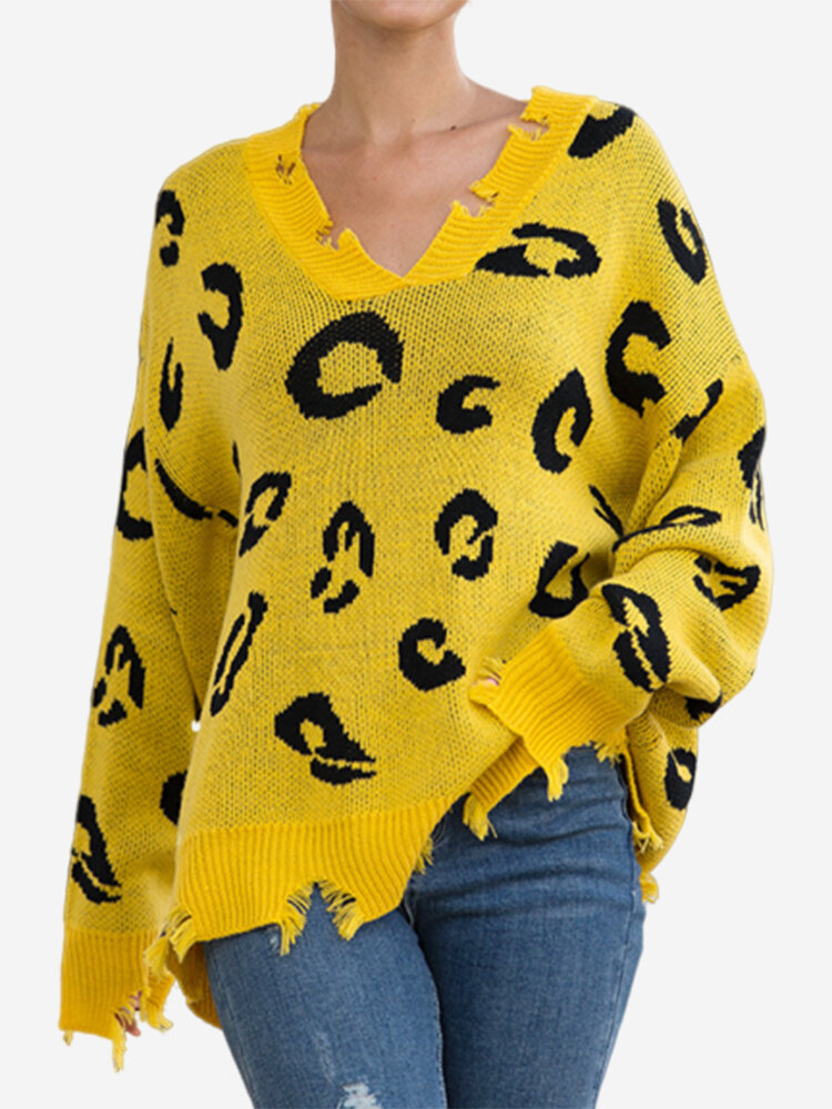 Best Casual Leopard Print Ripped V-neck Long Sleeve Sweater You Can Buy