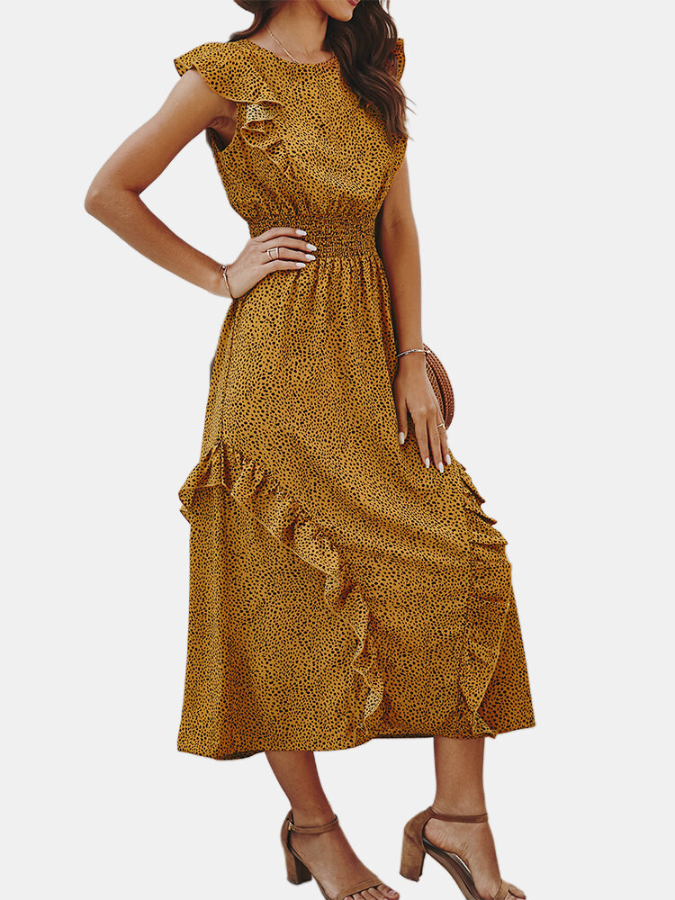 Best Casual Print Sleeveless Crew Neck Overehad Ruffles Maxi Dress You Can Buy