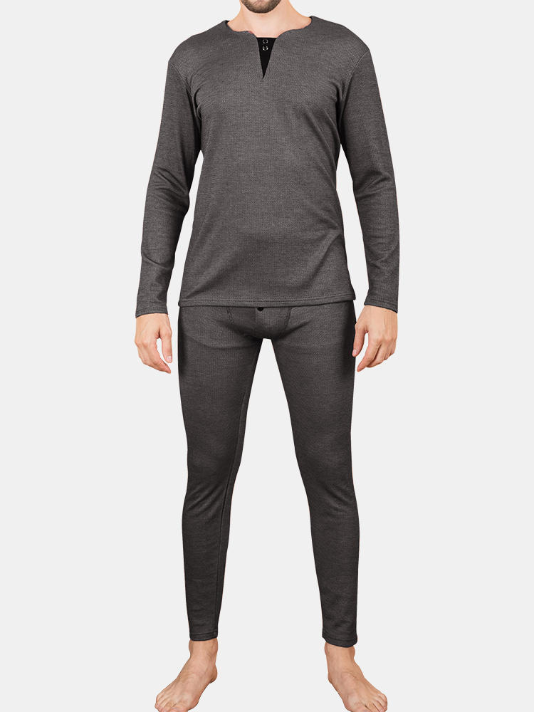 Best Men Thicken Thermal Underwear Set Knitting Solid Color High Elastic V Neck Long Johns You Can Buy