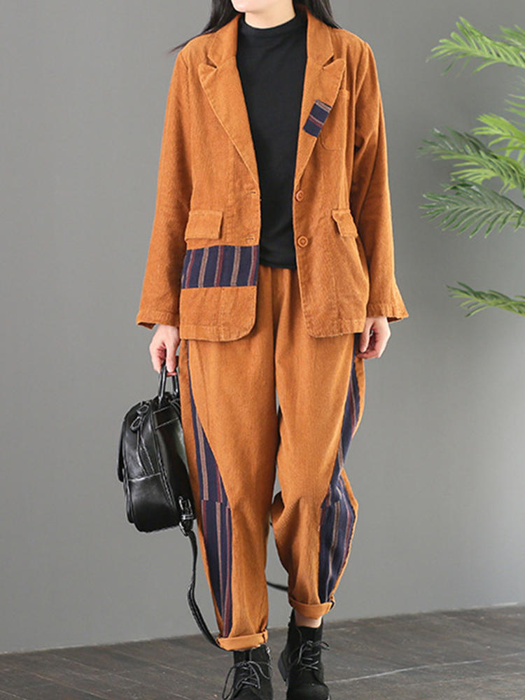 Best Patch Strip Corduroy Casual Women Suit You Can Buy