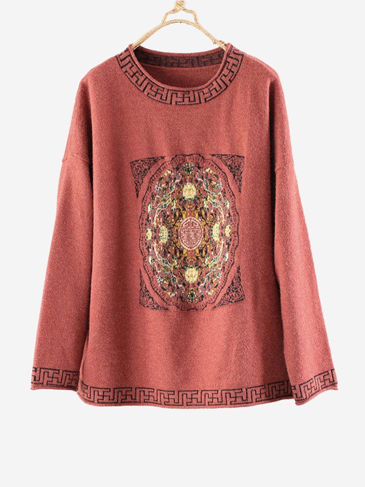 Best Vintage Embroidered Crew Neck Long Sleeve Overhead Sweater You Can Buy