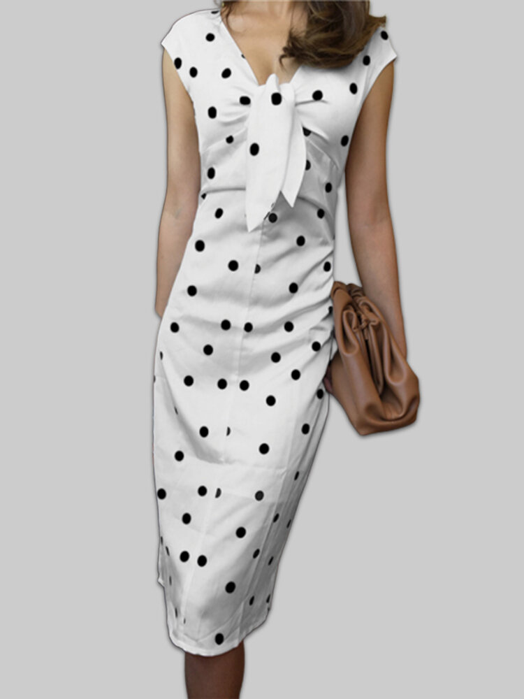 Best Elegant Polka Dot Knot Front Plus Size Dress You Can Buy