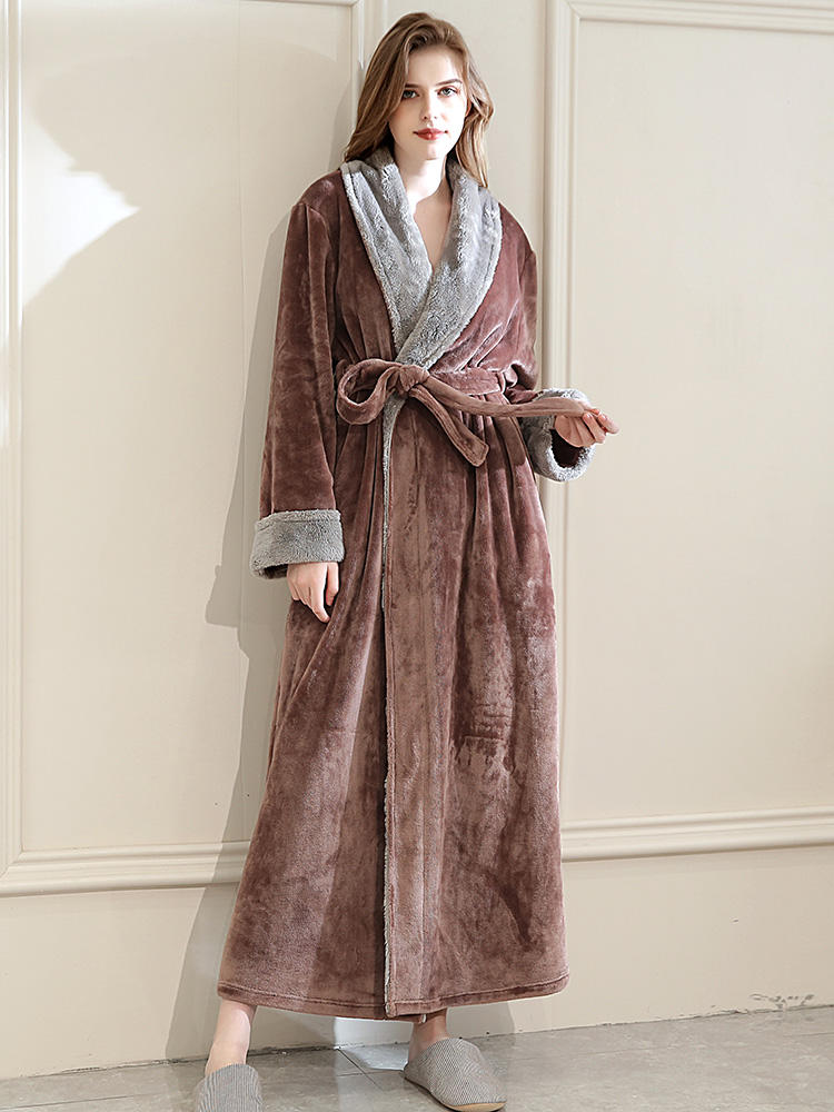 Best Plus Size Long Pink Robe Flannels Soft Patchwork Belt Pajamas With Pockets You Can Buy