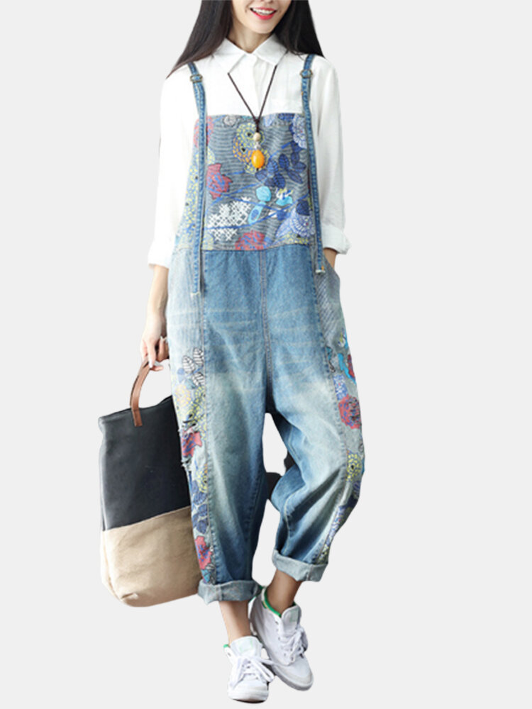 Best Casual Print Pocket Denim Plus Size Rompers You Can Buy