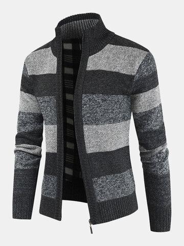 Cardigan maglione lavorato a maglia casual caldo con cerniera colletto alla coreana da uomo