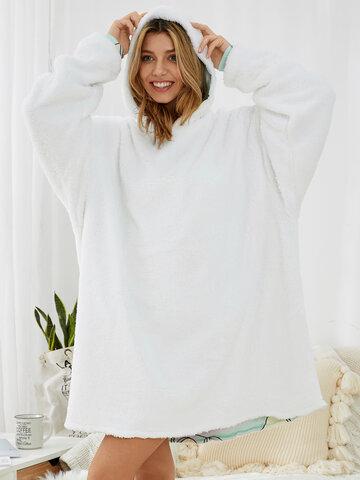Женское утолщенное теплое свободное одеяло с флисовой подкладкой с рисунком авокадо Толстовка с капюшоном с карманом кенгуру