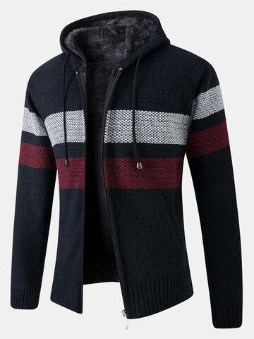 Cardigan con cappuccio a maniche lunghe in cotone lavorato a maglia foderato in peluche con zip frontale da uomo