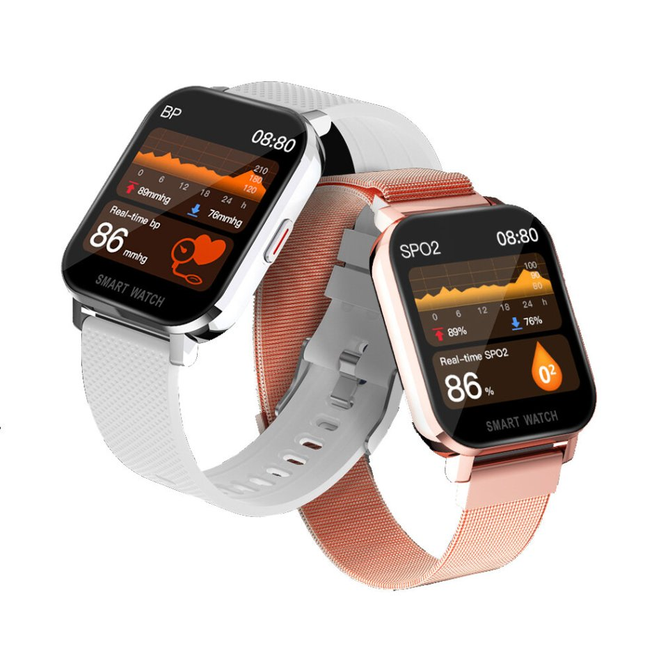 Bakeey MT28 Body Temperature Measure Blood Pressure Oxygen Monitor Weather Push 1.54inch Large Touch Screen Smart Watch
