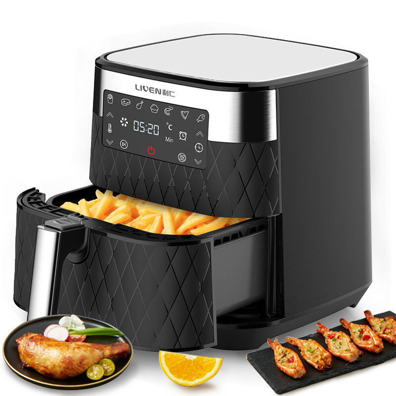 LIVEN KZ-D5500 Air Fryer 5.5L Large Capacity 1700W Electric Hot Air Fryers Oven Oilless Cooker LED Digital Touchscreen 360° Cycle Heating Nonstick Basket from Xiaomi Ecological Chain
