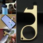 Στα 1.65€ από αποθήκη Κίνας   Contactless Portable EDC Door Opener Handheld Keychain Press Elevator Tool Anti-Bacterial Sanitary – Silver