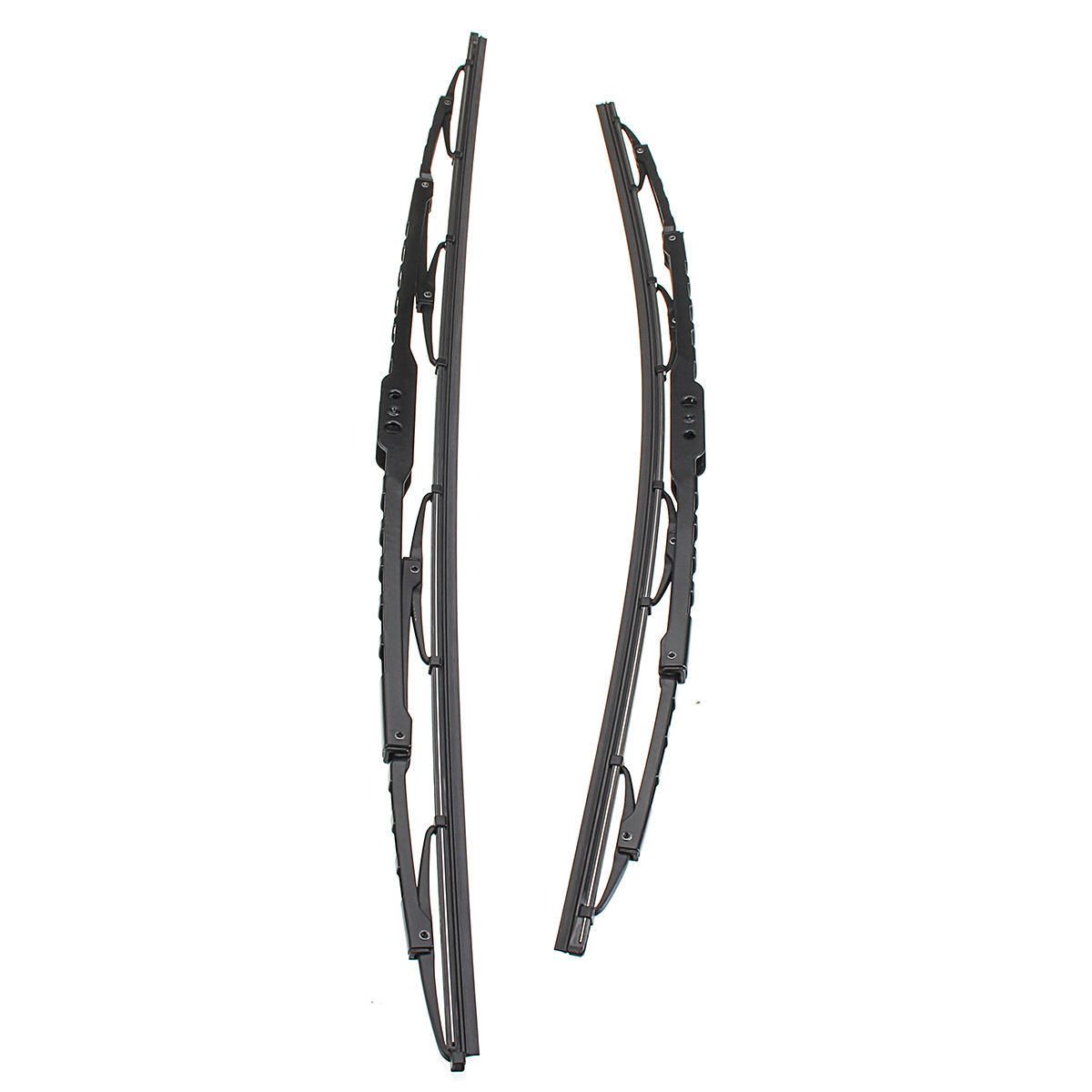 Car Front Pair Metal Frames Windscreen Wiper Blades For