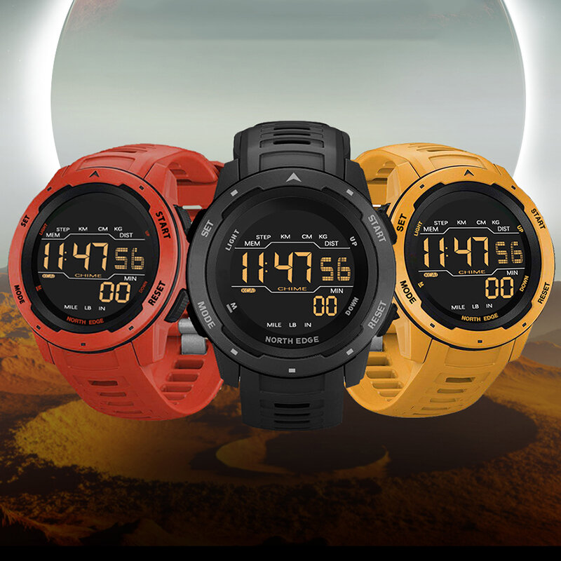 NORTH EDGE Mars Alarm Pedometer Countdown Sport Watch 50M Waterproof FSTN Screen Digital Watch