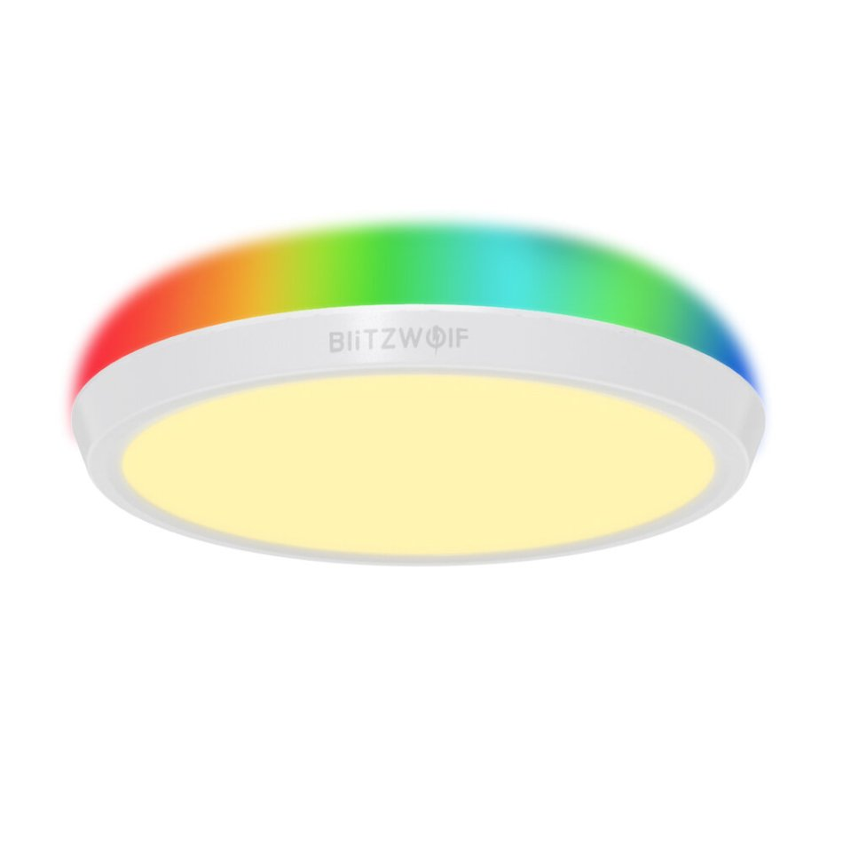 BlitzWolf® BW-CLT1 LED Smart Ceiling Light with Main Light and RGB Atmosphere Light 2700-6500K Adjustable Temperature APP Remote Control Optional & DIY Scene Mode