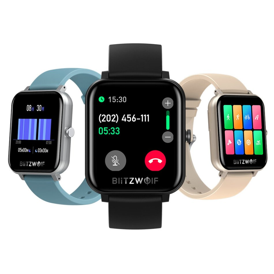 [bluetooth Call] BlitzWolf® BW-GTC 7x24h Heart Rate Monitor 60+ Watch Faces Weather Display Music Control Smart Watch