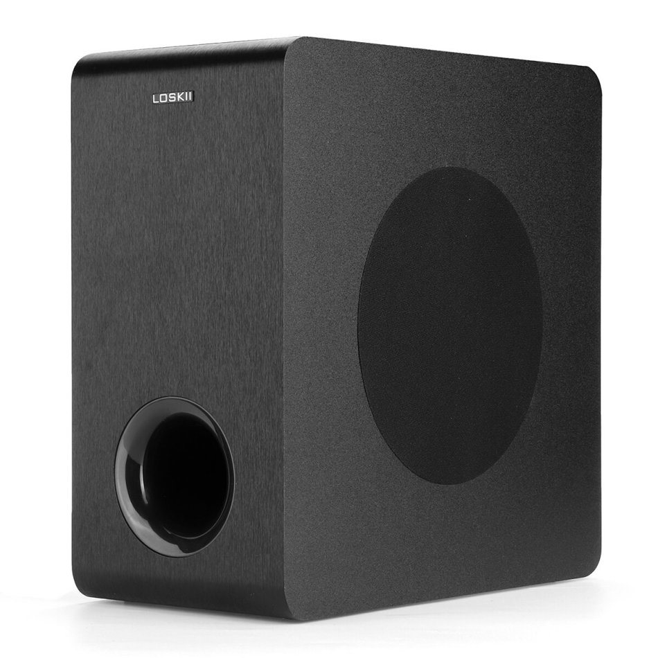 Loskii LK-SW65D 6.5 inch 60W Powered bluetooth Subwoofer Compact Speaker Deep Base Built-in Amplifier Home Audio Theater for TV Optical RCA