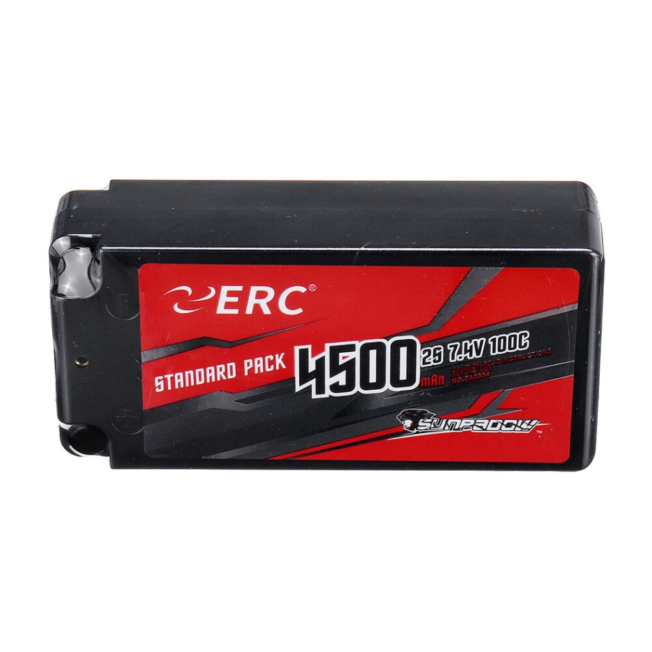 SUNPADOW ERC 7.4V 4500mAh 100C 2S Lipo Battery With 4mm Jack Socket for RC Car