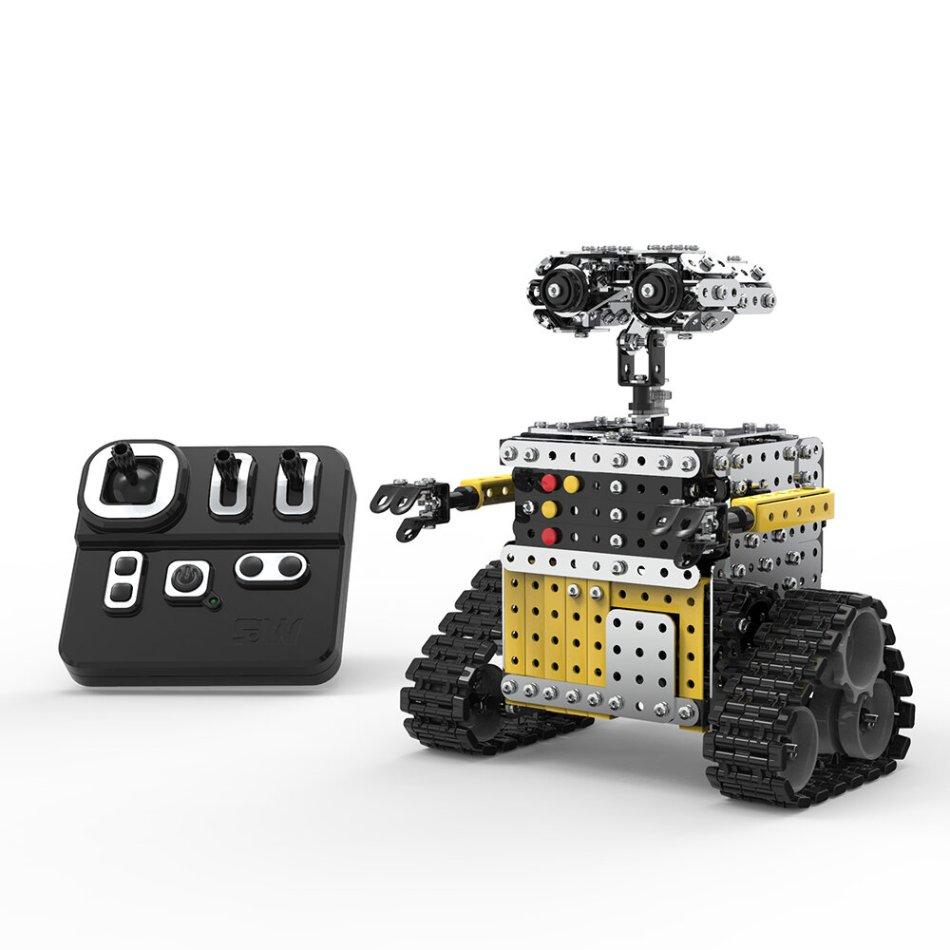 Mofun 009 2.4G 10CH DIY Steel Smart Obstacle Avoidance Walking RC Robot Toy