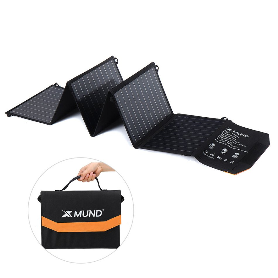 XMUND XD-SP1 60W Foldable Solar Panel Charger 2 USB+2 DC Handbag Solar Power Bank for Outdoor Camping Hiking