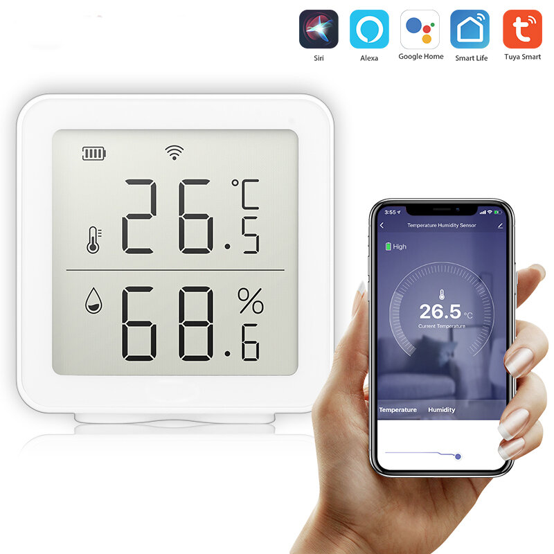 Bakeey Tuya WIFI Temperature&Humidity Sensor Work With Alexa Indoor Hygrometer Thermometer LCD Display Intelligent Linkage For Smart Home