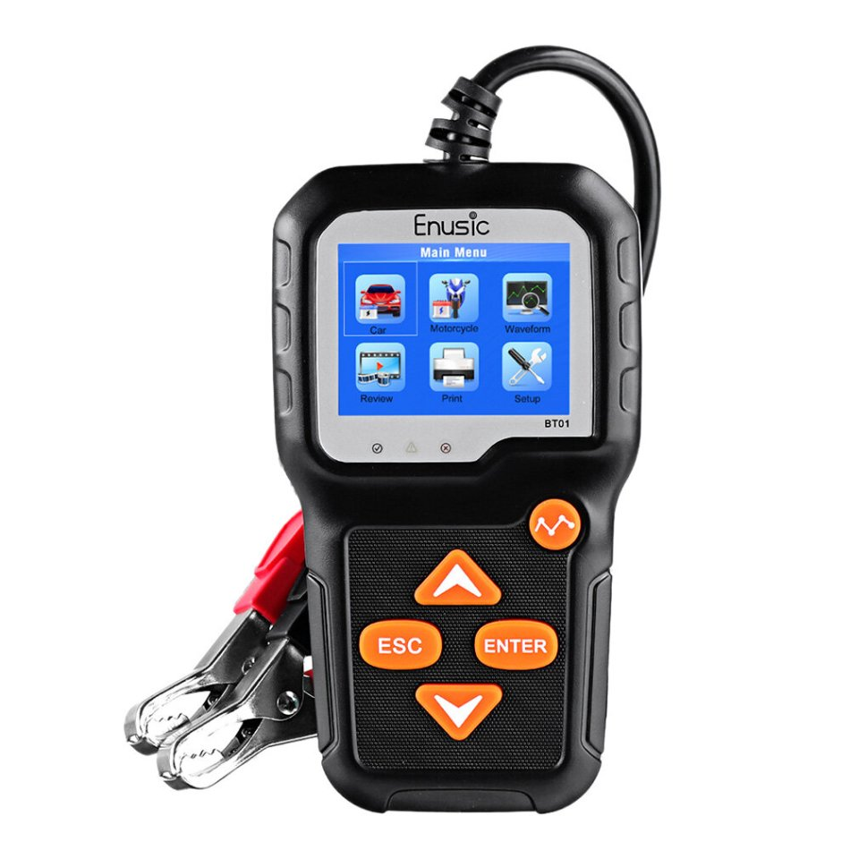 Enusic™ BT01 Professional 6V 12V Battery Tester 100-2000CCA Color LCD Display Car Motorcycle Load Analyzer Cranking Charging Diagnostic Tool