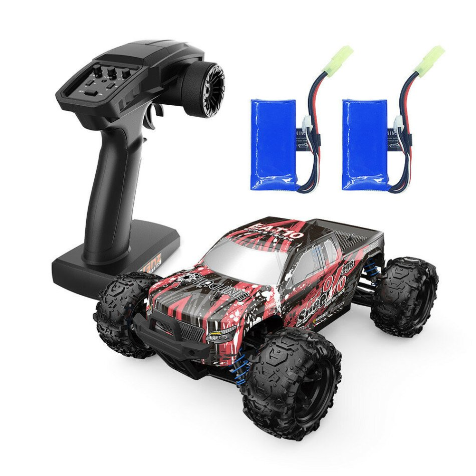 Eachine EAT10 1/18 Brushless RC Car with Several Batteries and 2.4GHz Remote Control High Speed 40km/h 4WD Off Road Monster Truck RC Model Vehicle Crawler for Boys Kids and Adults