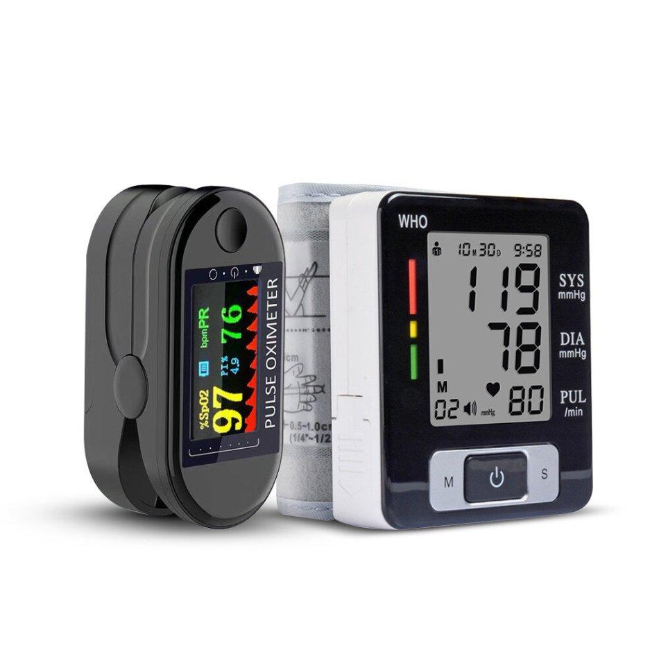 BOXYM 2 in 1 Finger Pulse Oximeter Blood Pressure Monitor Health Care Set for Elder Men Women Christmas Gift COD