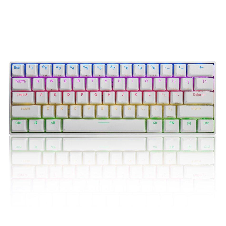 FEKER 60% NKRO bluetooth 4.0 Type-C Outemu Switch PBT Double Shot Keycap RGB Mechanical Gaming Keyboard--White