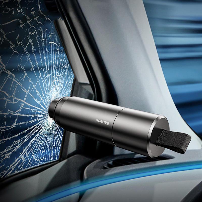 Baseus Mini Car Window Glass Breaker Seat Belt Cutter Safety Hammer Life-Saving Escape Hammer Cutting Interior Accessories