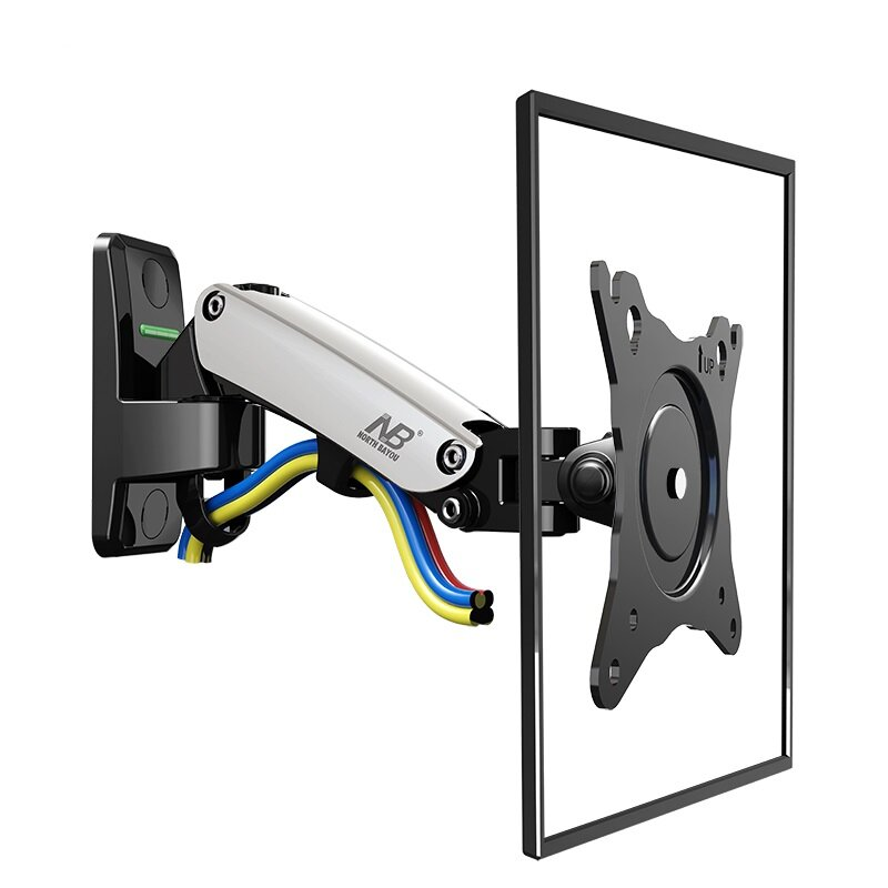 """NB F120 Monitor Laptop Stand Support 17-27"""" Gas Spring Wall Mount Aluminum Arm Bracket Silver 360 Rotation"""