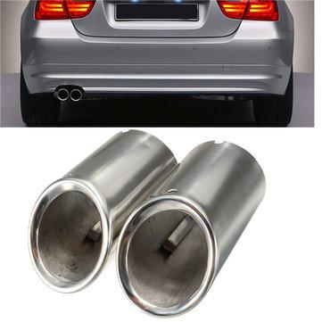 2pcs muffler exhaust tailpipe tip chrome for bmw e90 e92 325 3 series 06 10