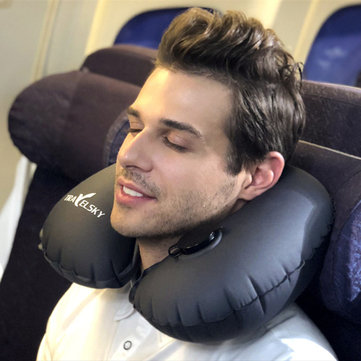 inflatable u shape neck cushion travel car headrest pillow office airplane driving nap support