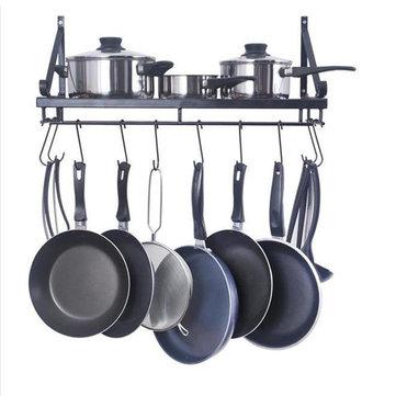 kitchen wall mounted pot pan rack holder cookware storage shelf hanger with hook kitchen storage rack