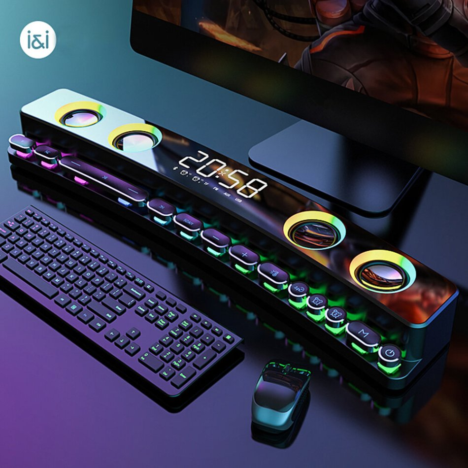 SOAIY SH39 Gaming Speaker bluetooth Soundbar Computer Audio Desktop Home Clock Game Subwoofer 3D Surround Bass 3600mAh AUX FM Loudspeaker