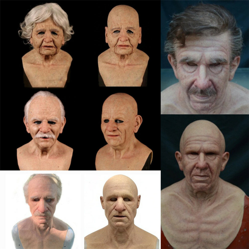 Halloween Rubber Old Man Mask Realistic Scary Latex Mask Horror Headgear Cosplay Props for Adult Man Woman