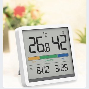XIAOMI Miiiw Mute Temperature Humidity Clock Digital Hygrometer Alarm Clock Indoor Thermometer Humidity Monitor Smart Home with 3.34inch Huge LCD Screen