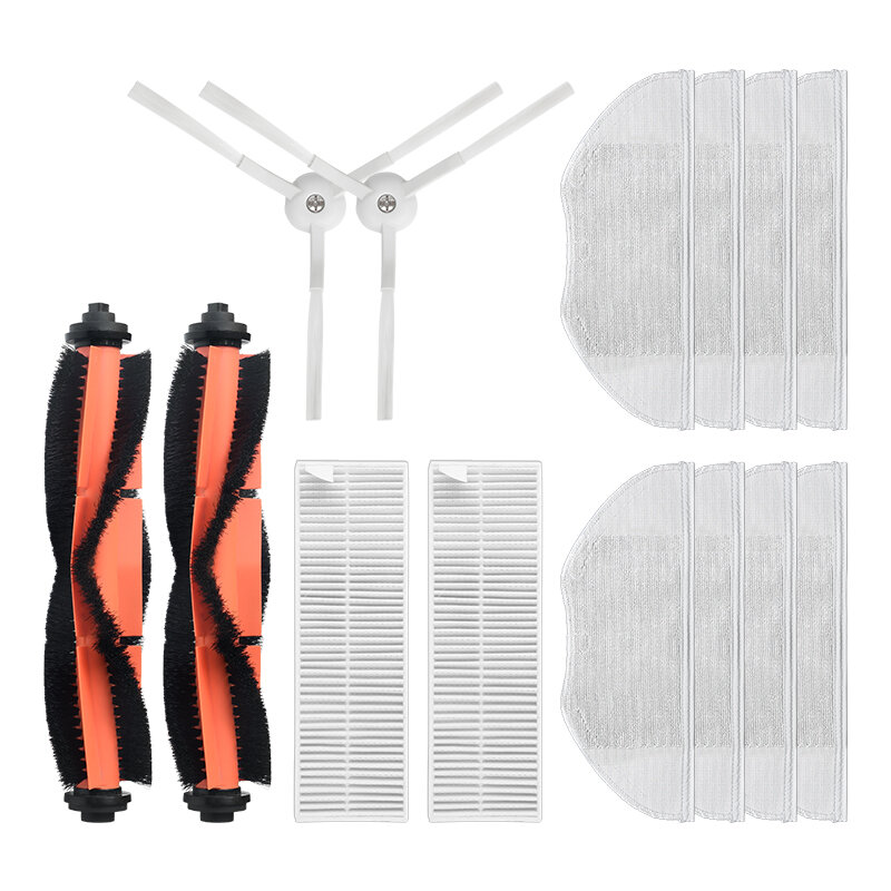 14pcs Replacements for Xiaomi Mijia G1 Vacuum Cleaner Parts Accessories Main Brush*2 Side Brushes*2 HEPA Filter*2 Mop Clothes*8