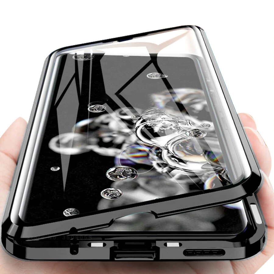 Bakeey 2 in 1 magnetic flip double-sided tempered glass + metal ...