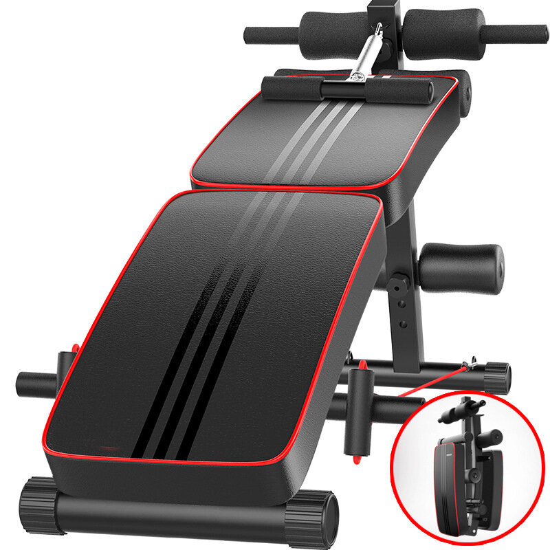 Bominfit WB4 Multifunctional Sit-up Bench Foldable Abdominal Machine 10 Gear Adjustable Trainer Board with Pillow Home Gym Fitness Equipment