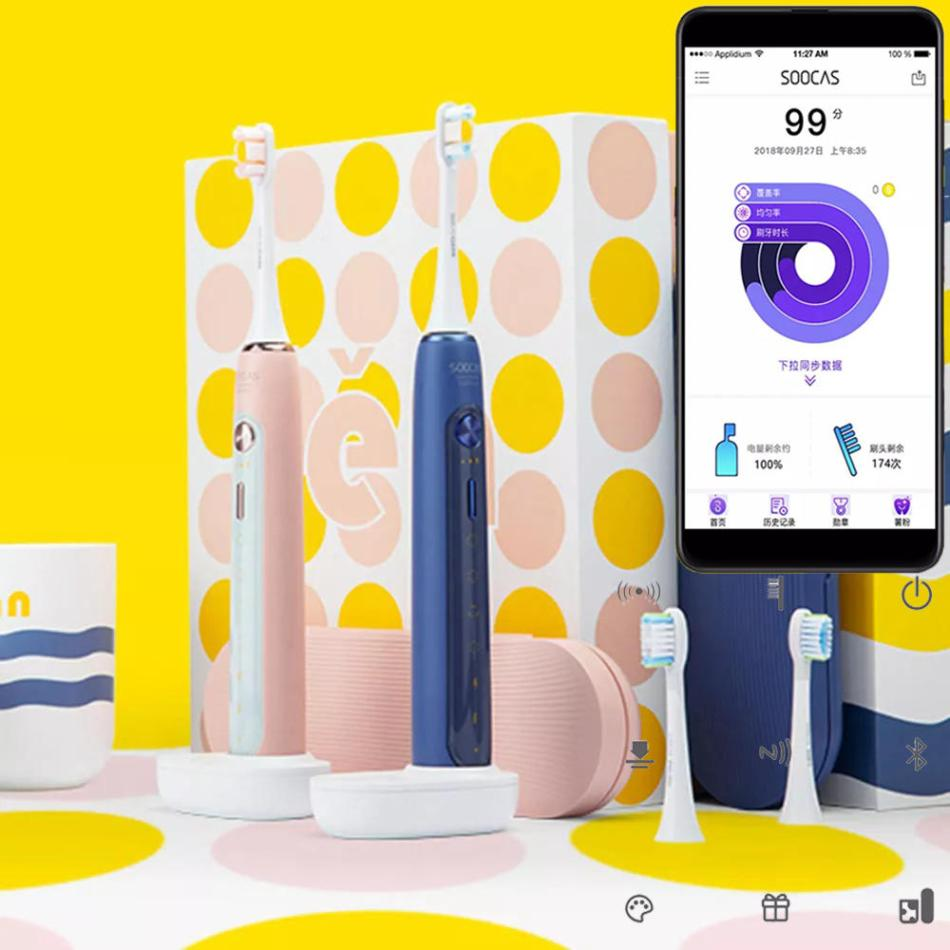 [2019 NEW] XIAOMI SOOCAS X5 Smart APP Electric Toothbrush Ultrasonic USB Wireless Charging Teeth Whitening Oral Hygiene Care
