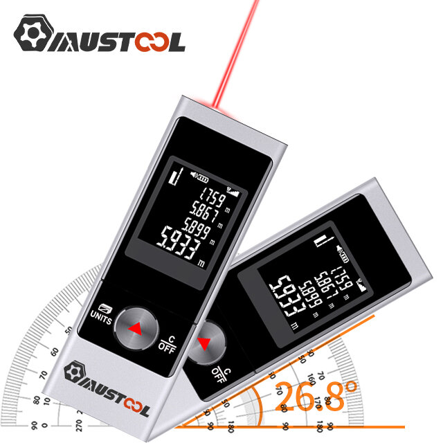 MUSTOOL M-C 50M/70M/80M USB Recharge Digital Mini Laser Rangefinder with Electronic Angle Sensor M/In/Ft Unit Switching for Length Height Area Volume Pythagorean Measurement Laser Distance Meter